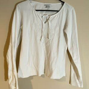 White Long Sleeve Tie Up Front Shirt